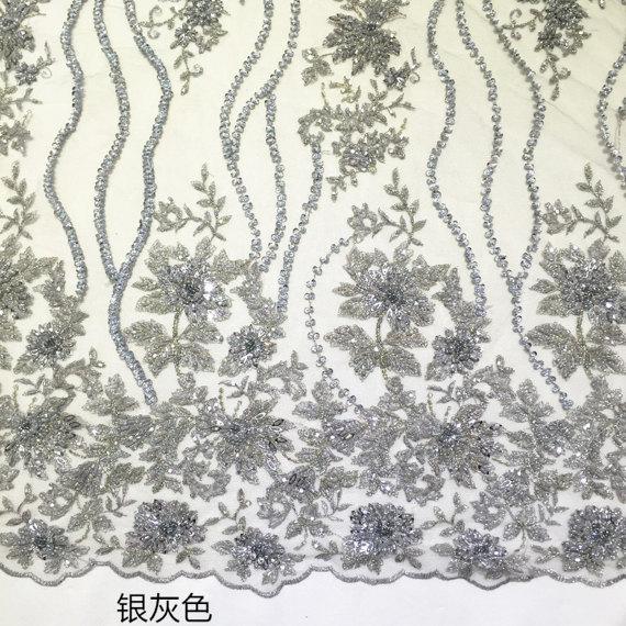 1 stoczni srebrny szary ciężki zroszony koronkowa tkanina ślubna, siatki gipiury koronki z 3D kwiaty, super poświęcić koronki w Koronka od Dom i ogród na  Grupa 3