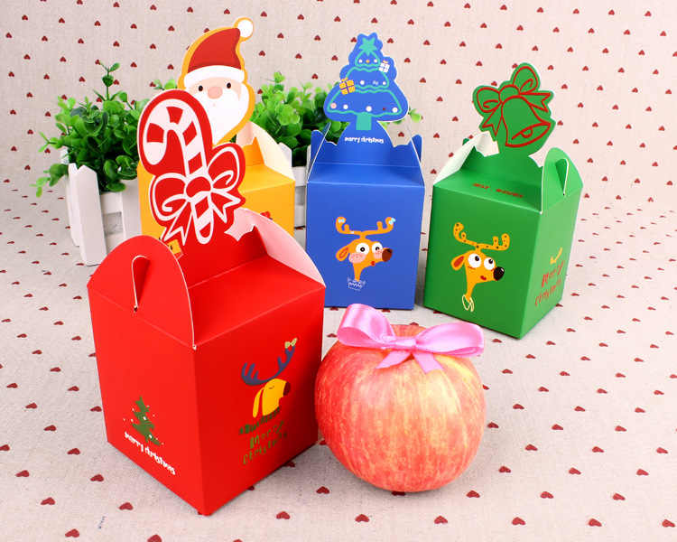 1 шт. цветная Рождественская коробка для яблок, конфет, фруктов, Рождественская Подарочная коробка, лося, Рождественский мешок для детей, чулки, орнамент