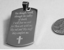 New fashion low price PSALM 23:4 VALLEY OF DEATH PRAYER SOLID STAINLESS STEEL DOG TAG NECKLACE FH890265