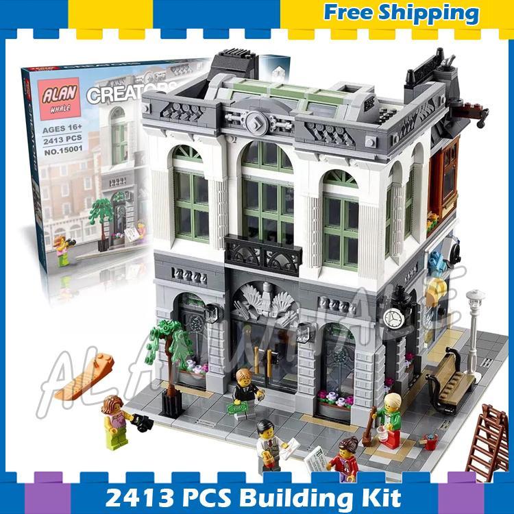 2413pcs Creator Expert Brick Bank Office Plaza Construction 15001 Model Modular Building Blocks Gifts sets Compatible With Lego