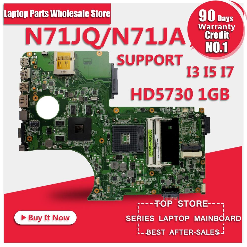 N71J N71JQ Laptop motherboard For Asus N71JA REV2.0 Mainboard Support i3/i5/i7 Processor HD5730 1GB 216-0772003 fully tested for asus u36jc motherboard with i3 380m 390m processor gt310m with 1gb ddr3 vram 100