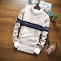 2017 invierno de la marca suéter suéter que hace punto de manga larga O-cuello Delgado Coreano ropa de moda suéter de los hombres