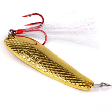 1pc Spoon Lure 16g-11g-6g Metal Fishing Bait Silver/Gold Spoon Bass Baits Red Feather Hook Fishing Tackle