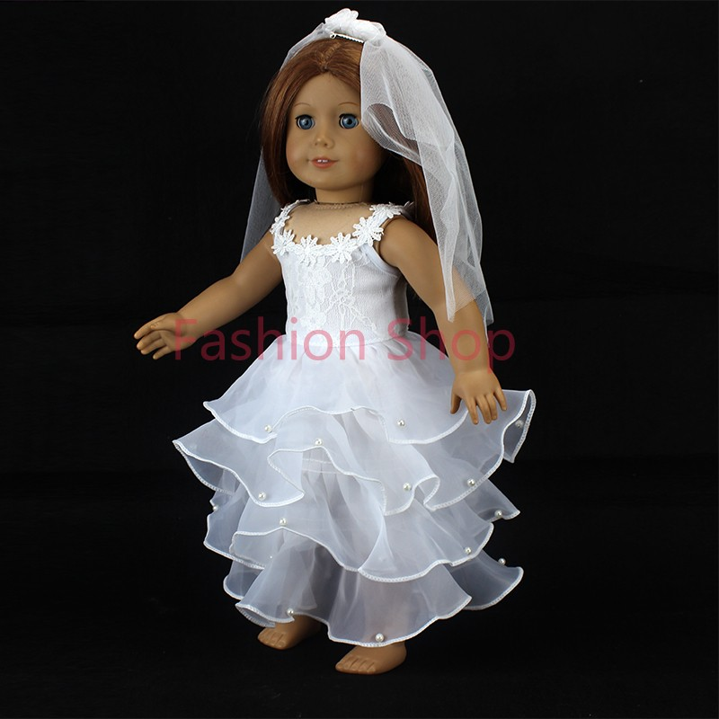 White wedding dress american girl doll clothesfits for 18 for American girl wedding dress