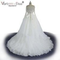 robe de bal two piece wedding dress 2018 crystal sashes boat neck wedding dresses long sleeve wedding dress with Lace Jacket