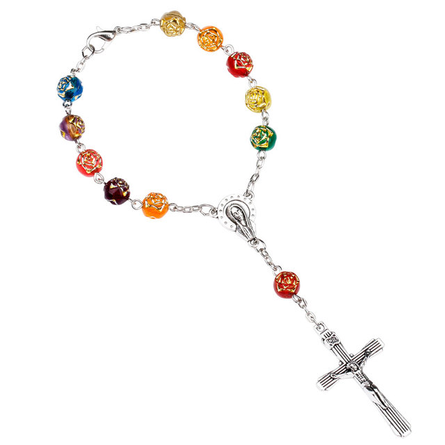 Ningxiang Colorful Rose Catholic One Decade Rosaries Bracelet Acrylic Beads Rosarium Prayer Auto Rosary For Car Best Friend Gift