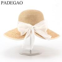Натуральный Лафит Ручной Работы Соломенная шляпа для женщин галстук-бабочка пляжный отдых леди солнце cap