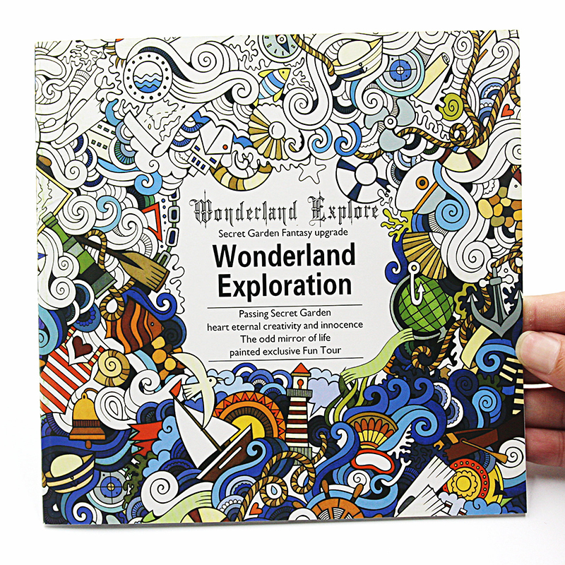 1 PCS Creative 24 Pages English Version Wonderland Exploration Coloring Book For Adult Relieve Stress Graffiti Drawing Art Book