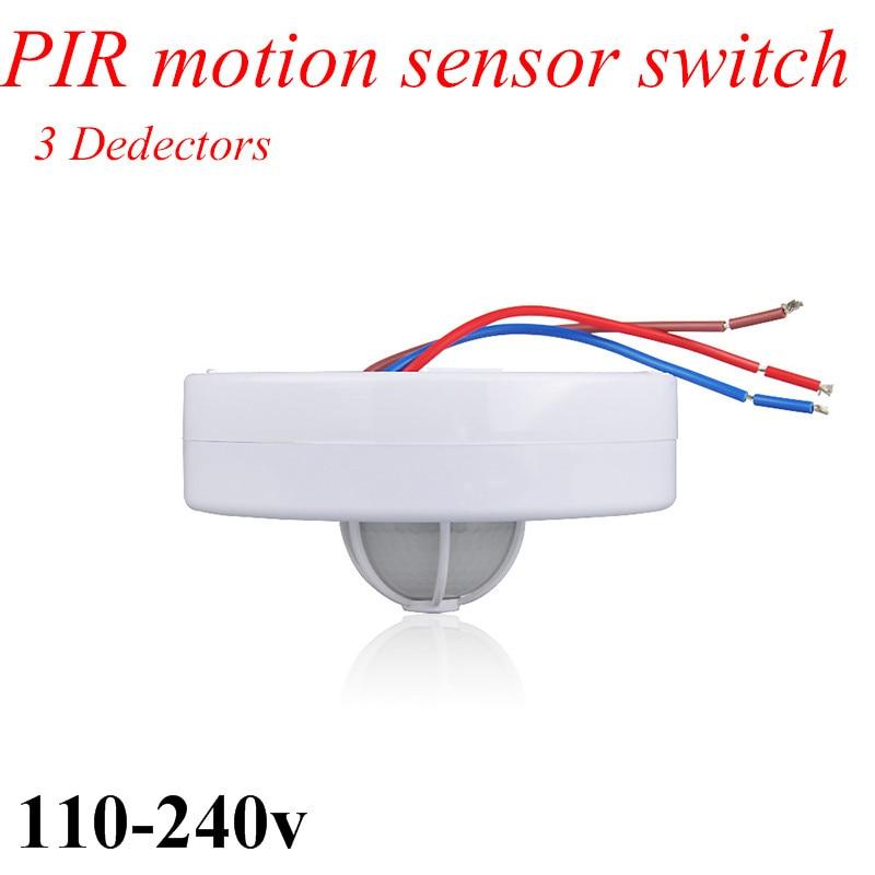 New 3 detectors 360 Degree PIR Motion Movement Sensor Detector Switch led PIR infrared motion sensor body switch light switch цена