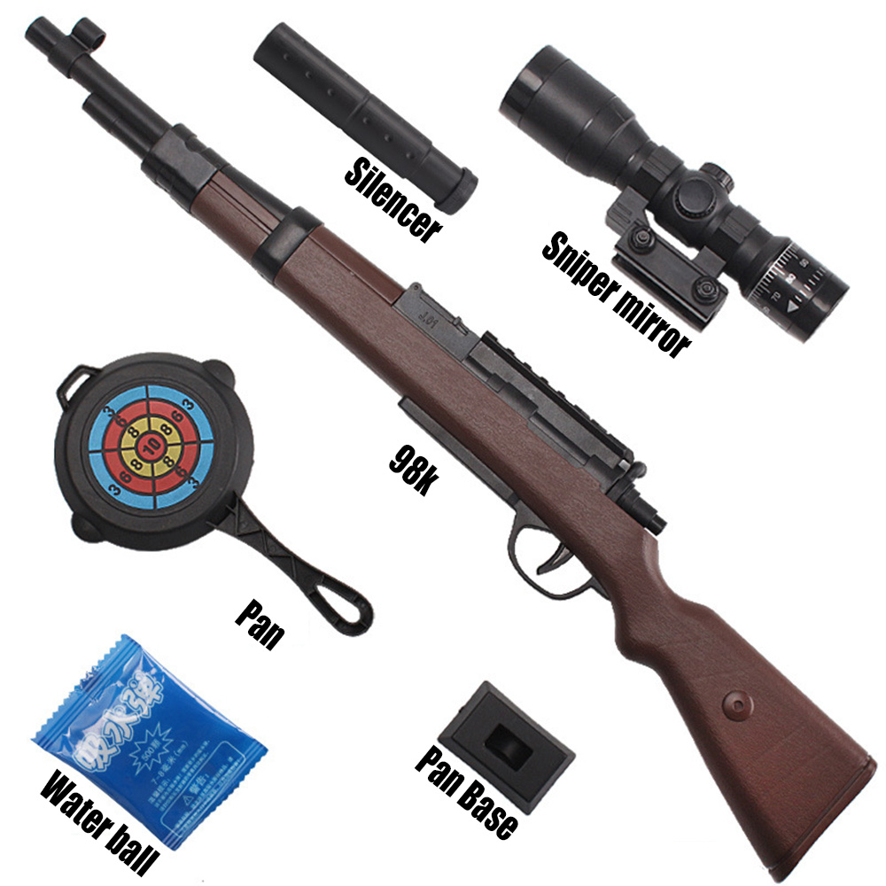 Pull Bolt Type Mini 98K Manual On The Water Bullet Gun With Sniper Mirror And Silencer Outdoor Battle Children Fun Toy Gun