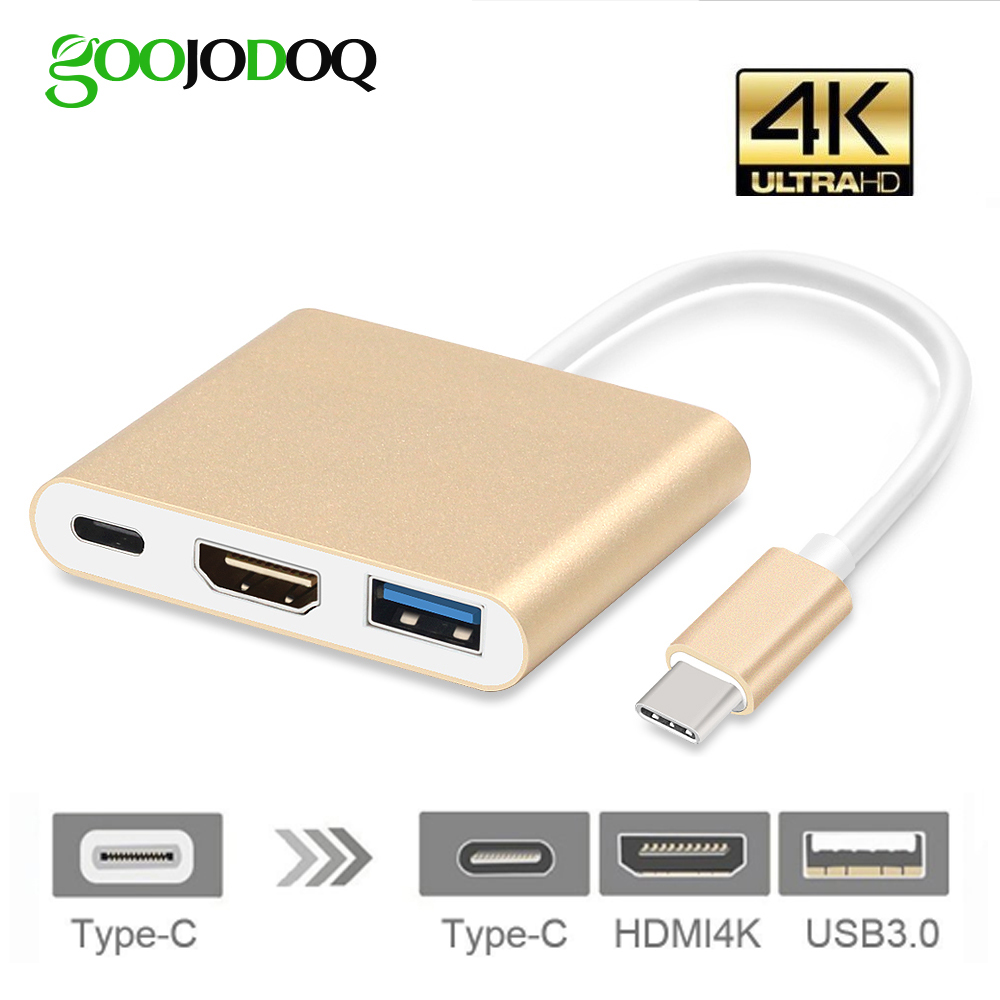 USB C HUB HDMI Adapter For Macbook Pro, GOOJODOQ USB Type C Hub to Hdmi 4K USB 3.0 Port With USB-C Power Delivery high quality 3in1 type c usb3 1 to usb c 4k hdmi usb 3 0 adapter conventer hub aluminum alloy for apple macbook