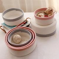 3pcs Set Round Boat Storage Basket Cotton Handmade Woven Sundries Storage Box Cotton Laundry Basket Desktop
