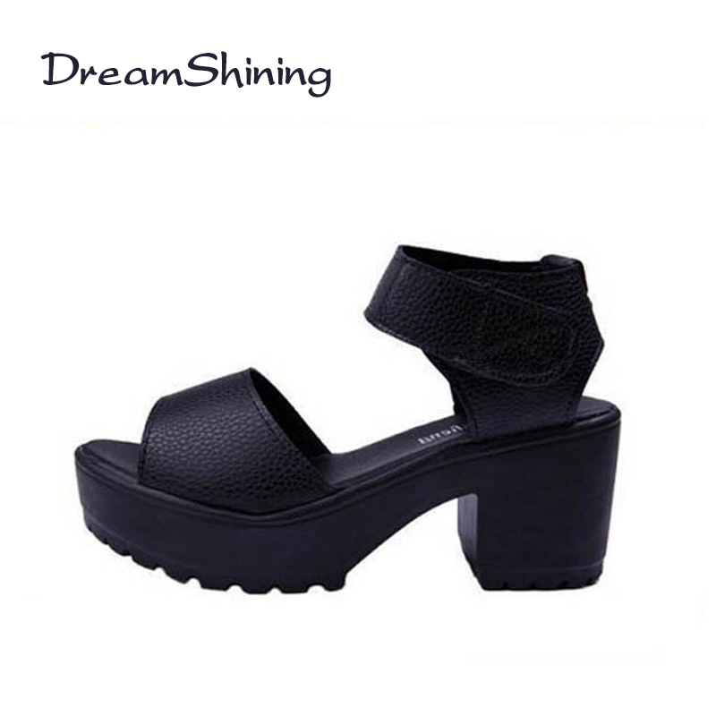 DreamShining Fashion Women Sandals Soft PU Summer Shoes Women Platform Sandals Open Toe Sandalias Trifle High-Heeled Women Shoes summer causal open toe buckle high heeled thick waterproof platform sandals for women