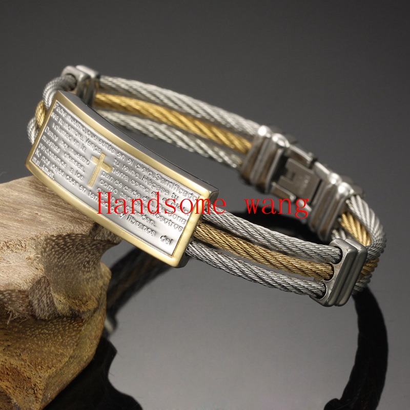 Perfect Technology 316l Stainless Steel Silver Gold 3 Row Wire With ID Word Cross Bracelet For Cool Mens Womens Wrist Jewelry