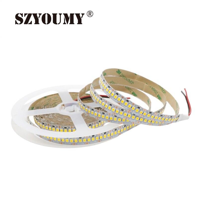 Szyoumy 2835 Светодиодные ленты 5 м 1200 <font><b>LED</b></font> 12 В <font><b>LED</b></font> гибких печатных плат с подсветкой Подсветка привело ленты 240 <font><b>LED</b></font> /M Белый/теплый белый