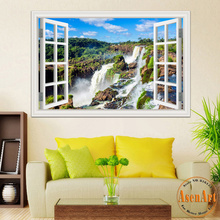3D Window View Wall Sticker Decal Sticker Home Decor Living Room Nature  Landscape Decal Waterfall Mural ...