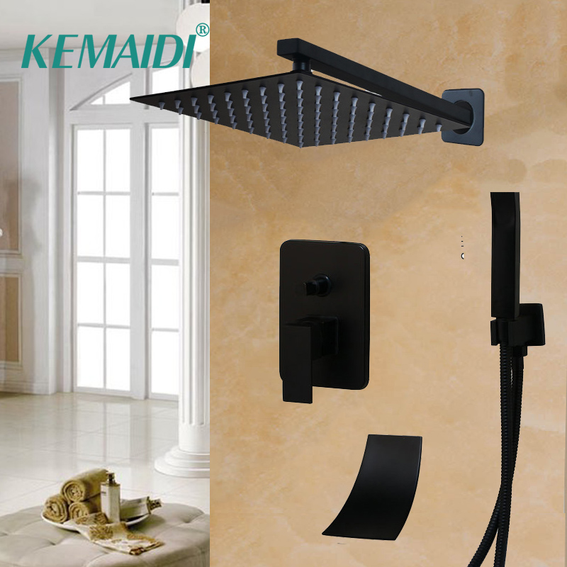 KEMAIDI Square Shower Head Waterfall Spout Shower Faucet Set  8 12 16 Inch Black Shower Rainfall Tub Shower Faucet Bathtub RainKEMAIDI Square Shower Head Waterfall Spout Shower Faucet Set  8 12 16 Inch Black Shower Rainfall Tub Shower Faucet Bathtub Rain