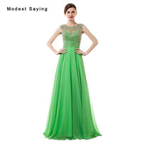 Luxury Sexy See Through Fresh Green A Line eaded Evening Dress 2017 with Rhinestone Women Night Party Prom Gowns robe de soiree