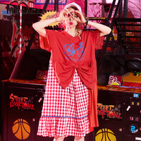 ELF SACK 2018 Summer Women Harajuku Casual Plaid Lace Womens A Line Dress New Korea O