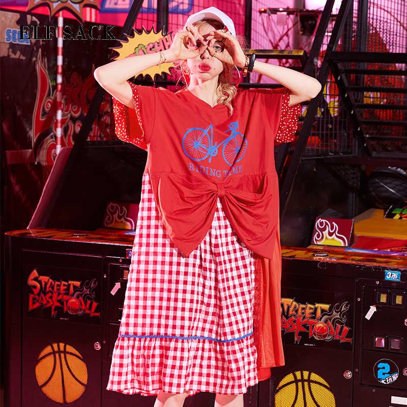 Эльф SACK стильный для женщин Harajuku повседневное плед кружево s трапециевидной формы платье Новая Корея О-образный вырез с принтом женский цвет БЛОКИР