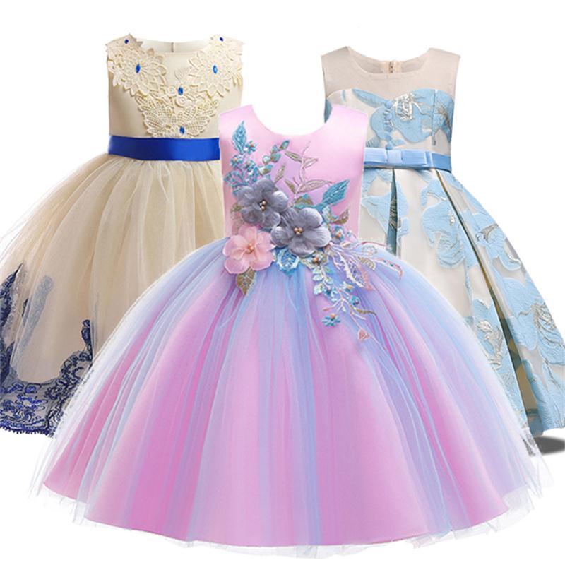 Summer Party Princess Dress Girl Clothes Wedding Costume Kids Dresses For Girls Bridesmaid Tutu Dress Elegant Gown 3 10 12 Years Платье