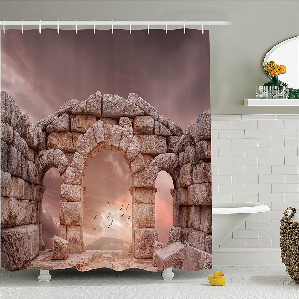 Medieval Fantasy Medieval Temple and Great Sky Birds Antiquity Architecture Landmark Picture Polyester Bathroom Shower Curtain