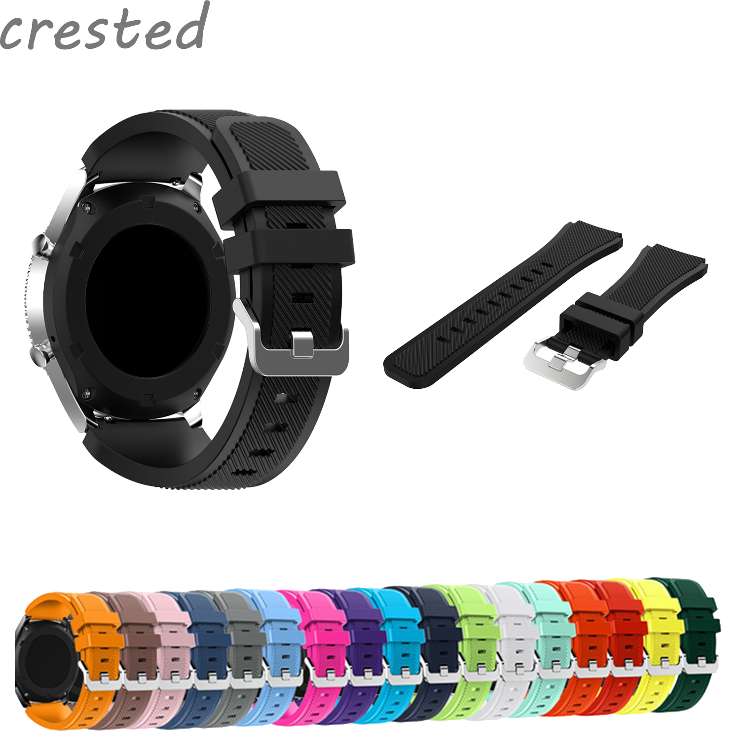 CRESTED 22mm silicone strap band for Samsung Gear S3 Classic/ Frontier rubber smart watch wristband replacement band 18 colors rubber wrist strap for samsung gear s3 frontier silicone watch band for samsung gear s3 classic bracelet band 22mm