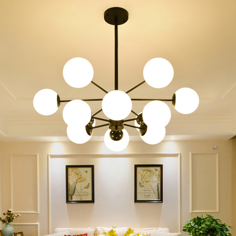 New Nordic modern chandelier light personality magic beans glass ball chandelier lighting led simple lamp for living room black nordic industrial style vintage chandelier lighting creative magic beans hanging lamp with e27 led bulb for restaurant clothing