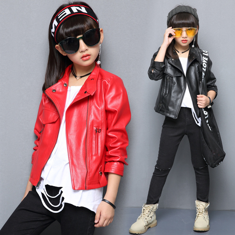 Teenagers Girls Coats Faux Leather Jacket PU Outerwear Coats Kids Jacket for girls outerwear Zipper Girls Clothing Spring Autumn girls clothes pu leather jacket 4 6 8 years kids coats spring autumn 2018 girls leather jackets children outwear zipper coats