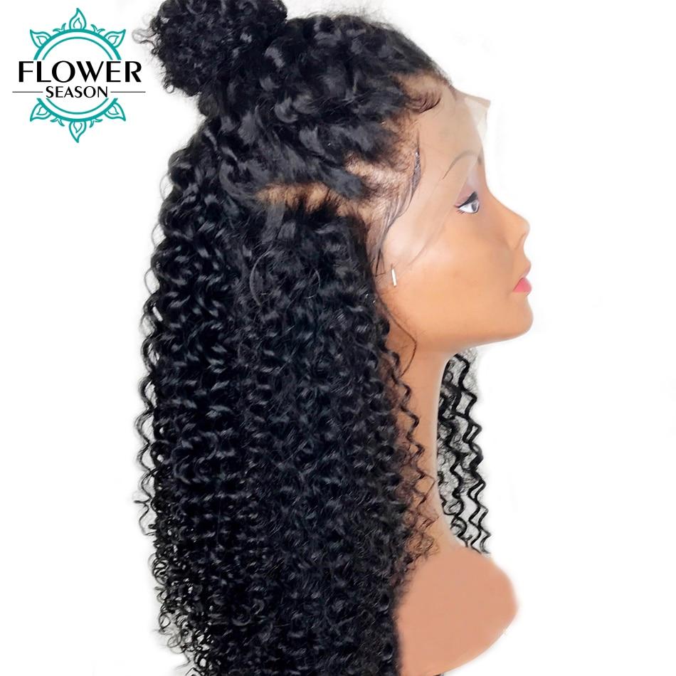FlowerSeason 13x6 Kinky Curly Lace Front Mänskliga Hårperor Med - Mänskligt hår (svart)