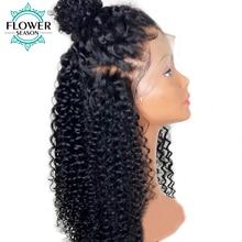 FlowerSeason 13x6 rizado rizado del frente del cordón pelucas de cabello humano con el pelo del bebé Peruvian Remy peluca de encaje precuppado nudos blanqueados