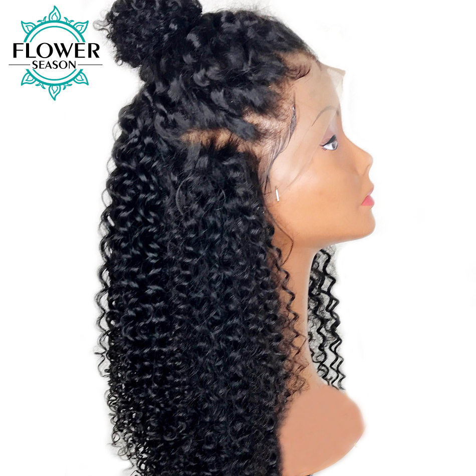FlowerSeason 13x6 Kinky Curly Lace Front Human Hair Wigs With Baby Hair Peruvian Remy Hair Preplucked Lace Wig Bleached Knots