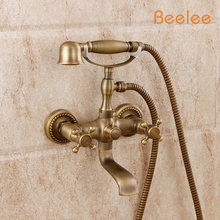 Beelee BL5020A Wholesale And Retail New Wall Mounted Telephone Style Handheld Shower Bathtub Faucet Tub Mixer Faucet wholesale and retail bathroom wall mounted telephone style shower faucet with dual handles