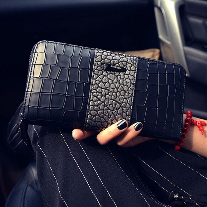 The new lady wallet Long fashion zipper wallet Large capacity crocodile grain lady's wallet A woman hand bag women wallet long zipper wallet high capacity crocodile grain female card package fashion hand bag change purse