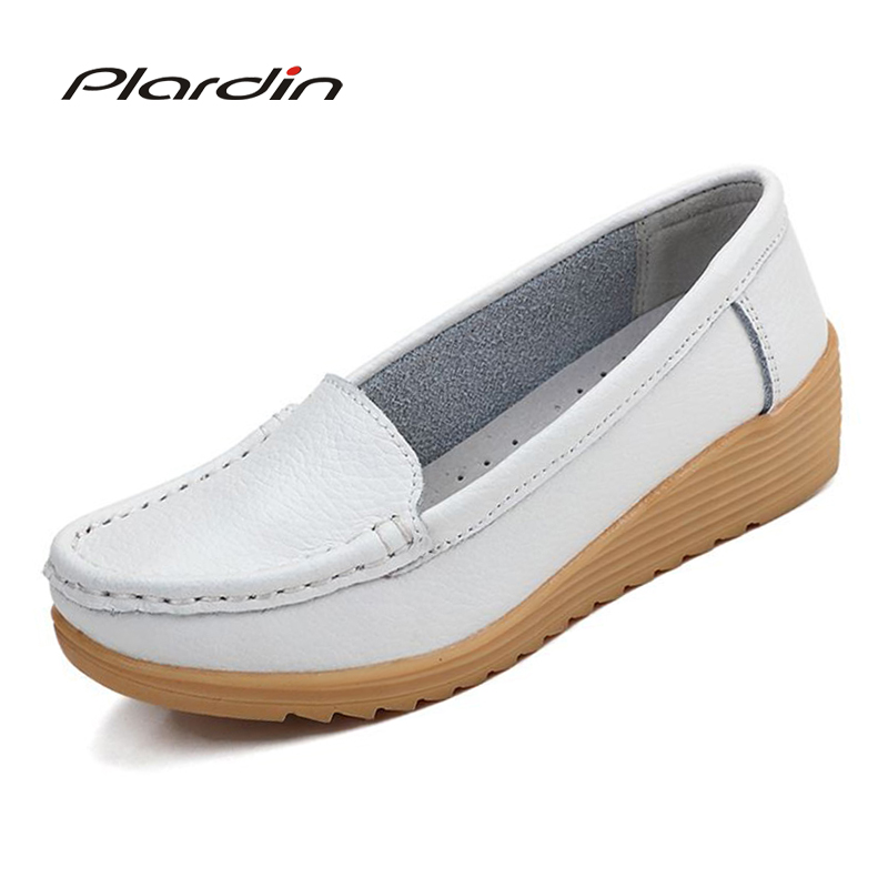 plardin Women Shoes Four Seasons 2018 Women Genuine Leather Wedge round toe Platform nurse Soft and comfortable Flat Shoes Women sgesvier comfortable senior leather fabrics simple and easy red green and four color yellow women flat shoes size 34 41 xt21