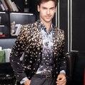 2016 do sexo masculino traje blazer jaqueta de veludo dos homens pequena jaqueta floral high-grade costumse para cantor dançarino estrela de Natal mostrar