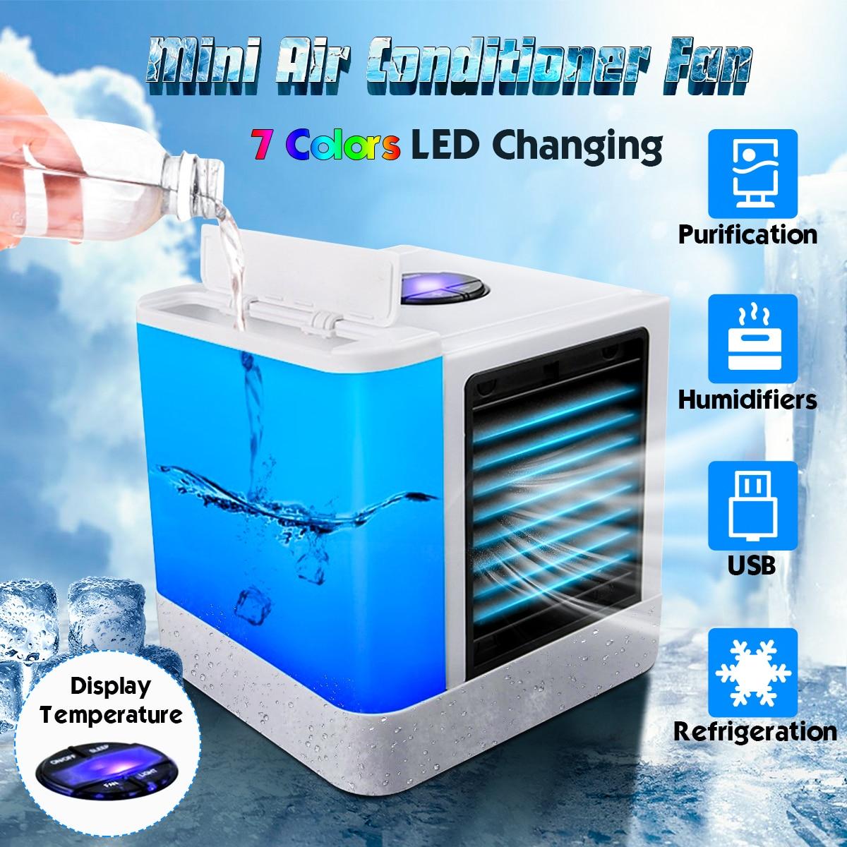 Main Rechargeable refroidissement humidité Refroidisseur USB DEL Rechargeable Mini Ventilateur de bureau