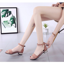 Summer thick with suede open toe word buckle rhinestone sandals handbags Korean low-heeled fashion womens shoes
