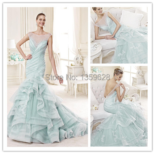 Ice Blue Mermaid Wedding Dress
