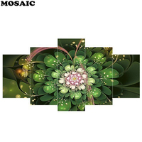 5pcs/set Full Square Diamond Embroidery DIY Diamond Painting Cross Stitch Kits Mandala Abstract flower 5D Mosaic Home Decor