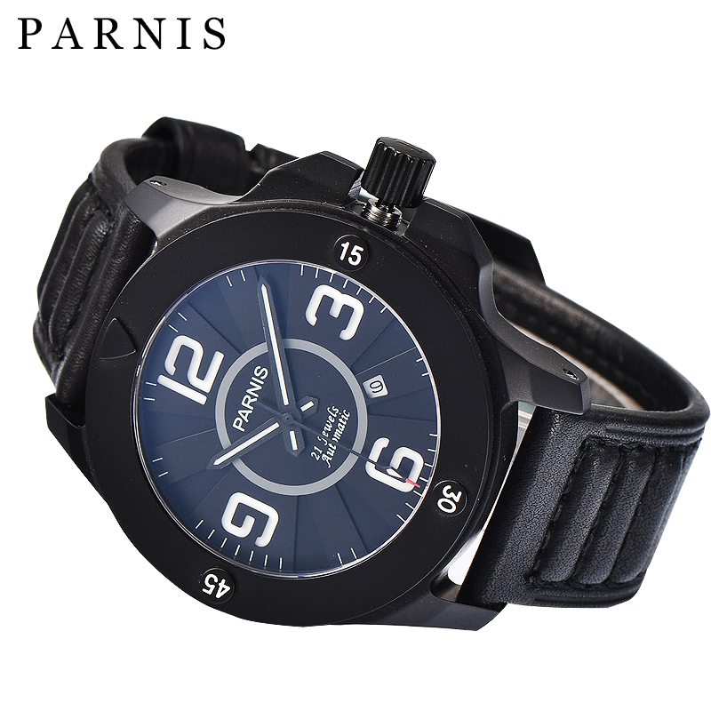 все цены на  Fashion 47mm Men Watch Parnis Watches 21 Jewels Blue Dial  Miyota Automatic Movement Black Leather Luminous Waterproof  Watches  в интернете