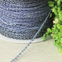 2mm*5yards blue acrylic beaded trimming for clothing wedding dresses DIY sewing accessories trim tailor