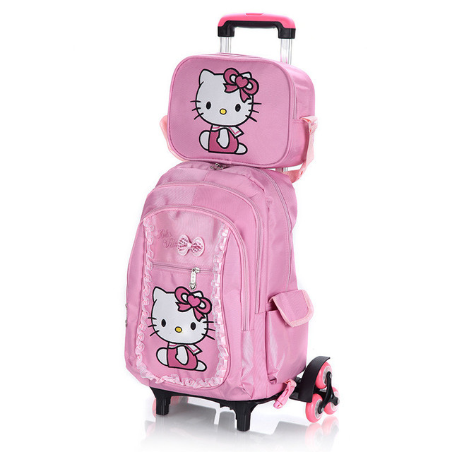 Hello Kitty Children School Bags Set Mochilas Kids Backpacks With Six Wheels Trolley Luggage For S