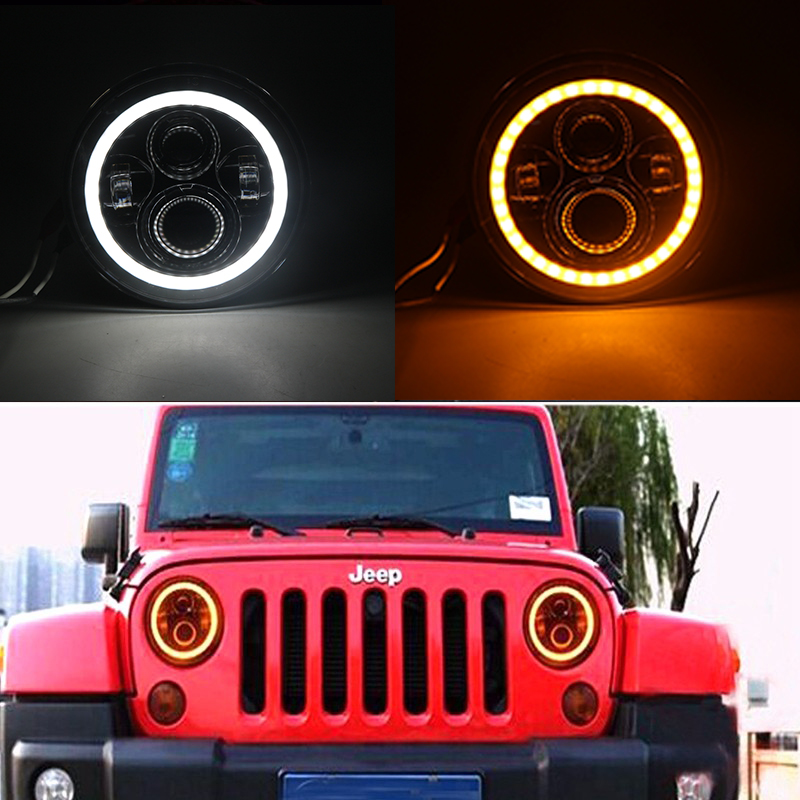 7 Inch Round H4 LED Daymaker Projector Headlights For Jeep Wrangler Lada Niva 4x4 Hummer H1 H2 Halo Angel Eyes DRL Led Headlamp 7inch round halo headlights 45w wrangler jk high low beam headlamp 7 angel eyes projector head light for jeep land rover