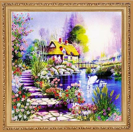 Cucito, set di punti croce a nastro fai-da-te per kit da ricamo, fasce paesaggistiche Garden Lake Flowers con ricamo a mano, regalo di nozze