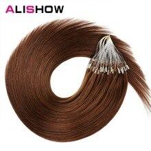 Alishow прямые волосы на микро кольцах 1 г/локон 50 г/упак. человеческие волосы на микро-бусинах remy прямые волосы для наращивания#613 блонд