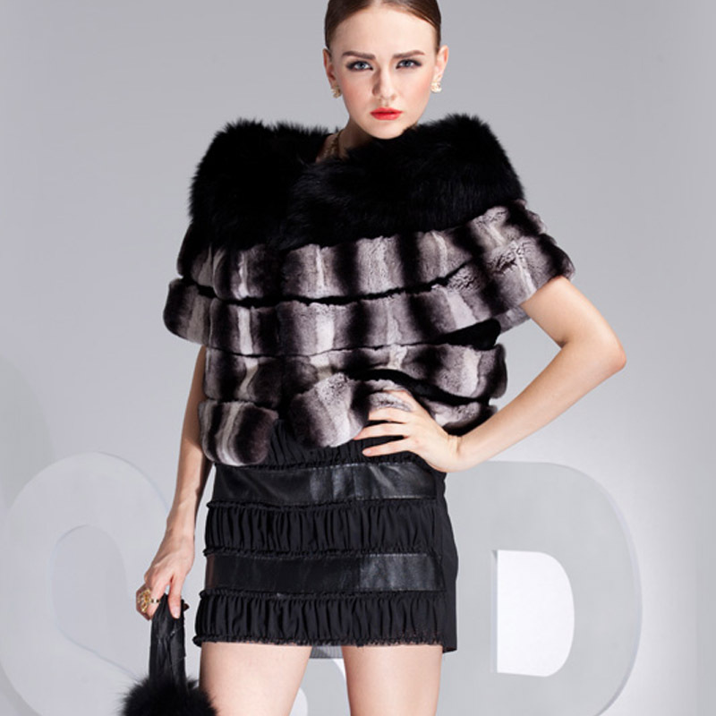 2015 New women autumn-winter short female rex rabbit Chinchilla Fur Coats looking fox collar - Fashion store