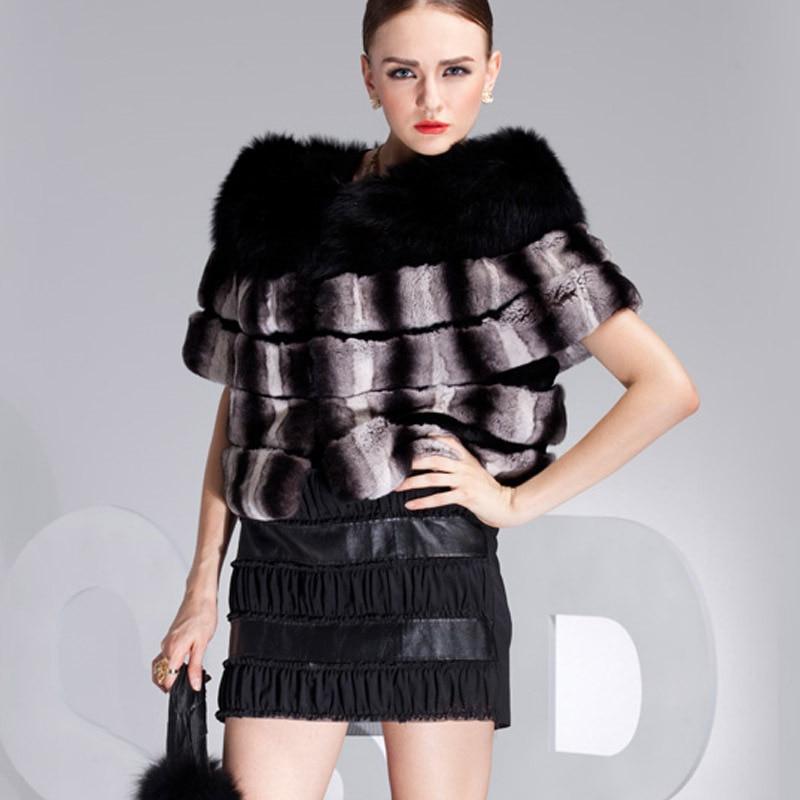 2015 New women autumn-winter short female rex rabbit Chinchilla Fur Coats looking fox collar  -  Fashion store