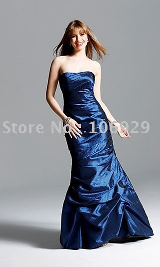 Free Shipping   2011 A-Line Strapless Ruching Trumpet Skirt Taffeta Mother of The Bride Dresses MD12