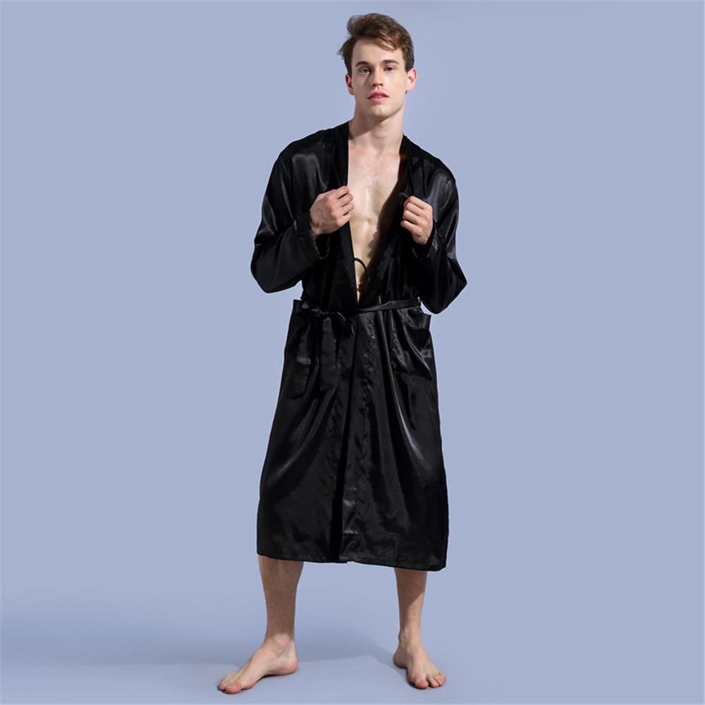 e2bc84380e 2019 autumn sexy Robe Male rayon Bathrobe for Men s Night Sleepwear Kimono  Long Designer Long Sleeve Belt Pockets nightshirts -in Robes from Underwear  ...